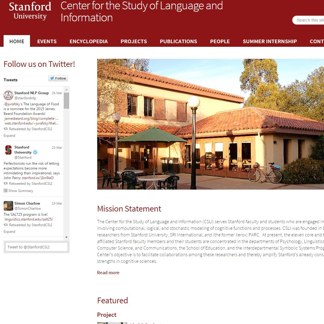 Stanford Center for the Study of Language and Information Home Page image