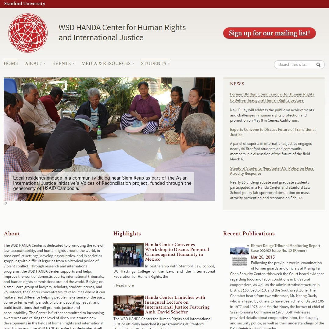 WSD HANDA Center for Human Rights and International Justice home page image
