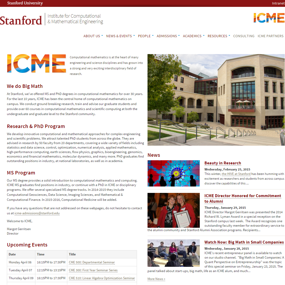 Stanford Institute for Computational & Mathematical Engineering Home Page image