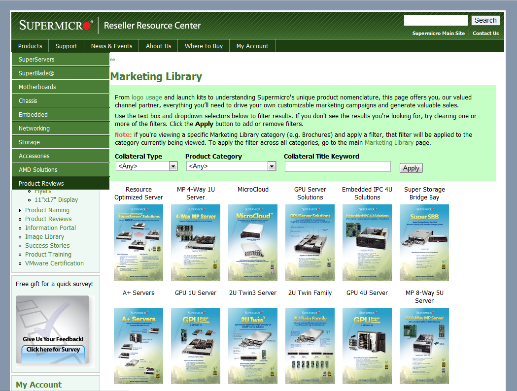 Supermicro Computer Inc. Reseller Portal Marketing Library image